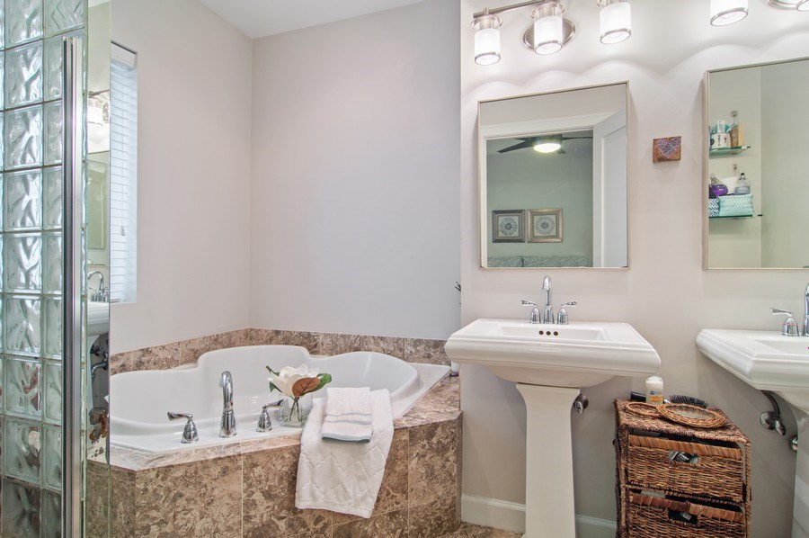 Real Estate Photography - 4039 N Kilbourn, Unit 1S, Chicago, IL, 60641 - Master Bathroom
