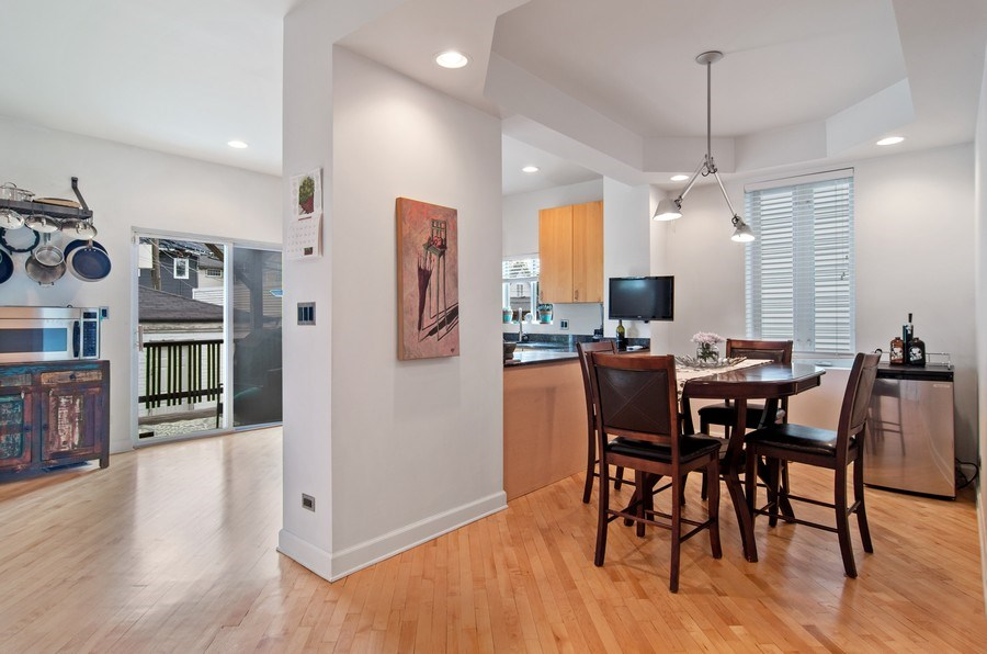 Real Estate Photography - 4039 N Kilbourn, Unit 1S, Chicago, IL, 60641 - Kitchen / Dining Room