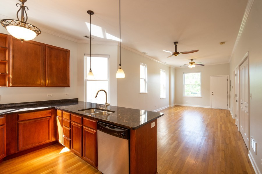 Real Estate Photography - 1312 Artesian, Unit 3R, Chicago, IL, 60622 - Kitchen / Living Room