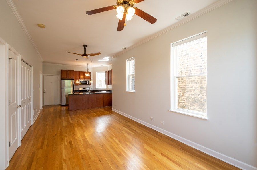 Real Estate Photography - 1312 Artesian, Unit 3R, Chicago, IL, 60622 - Kitchen/Living
