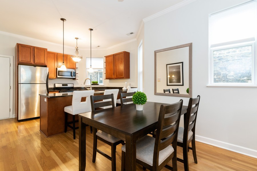 Real Estate Photography - 1312 Artesian, Unit 3R, Chicago, IL, 60622 - Kitchen / Dining Room