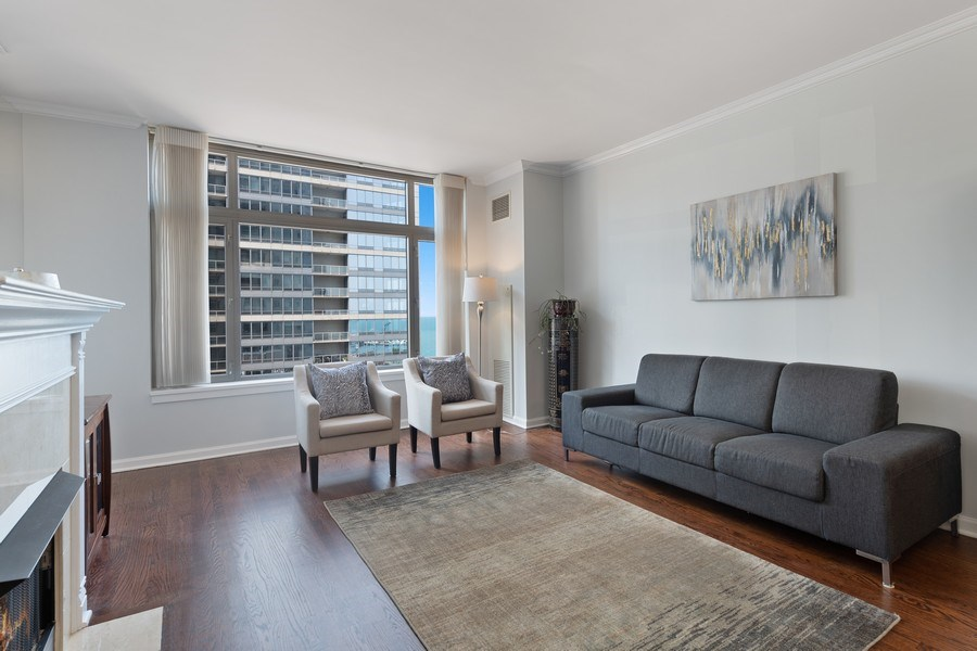 Real Estate Photography - 530 N Lake Shore Dr, Unit 1303, Chicago, IL, 60611 - Living Room