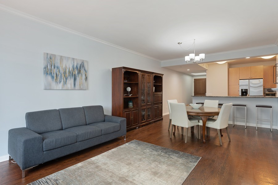 Real Estate Photography - 530 N Lake Shore Dr, Unit 1303, Chicago, IL, 60611 - Living Room / Dining Room