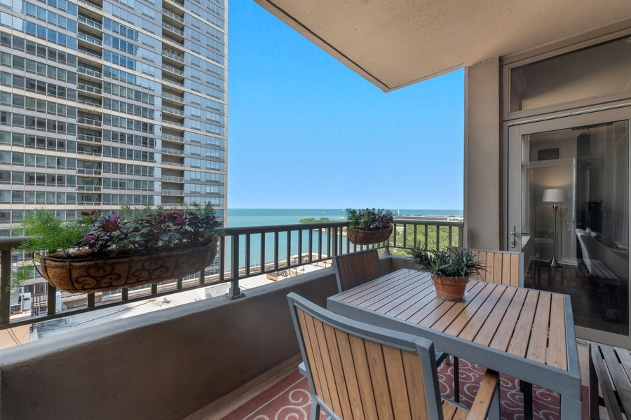 Real Estate Photography - 530 N Lake Shore Dr, Unit 1303, Chicago, IL, 60611 - Balcony