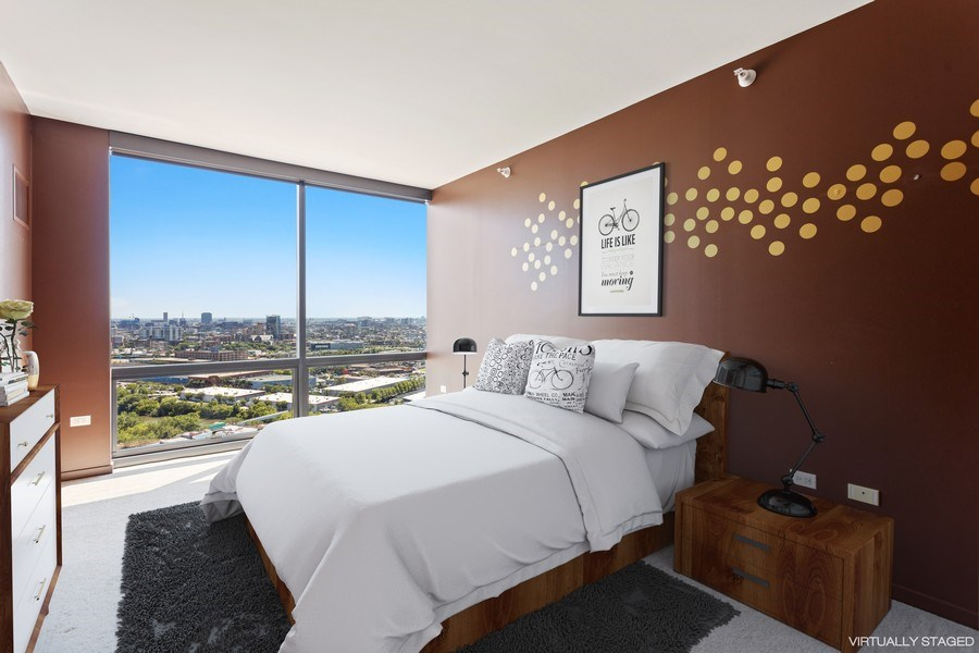 Real Estate Photography - 860 W. Blackhawk St., 2607, Chicago, IL, 60622 - Bedroom