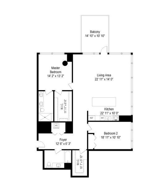 Real Estate Photography - 860 W. Blackhawk St., 2607, Chicago, IL, 60622 - Floor Plan