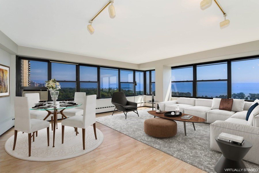 Real Estate Photography - 3410 N Lake Shore Drive, #15D, Chicago, IL, 60657 - Living Room / Dining Room