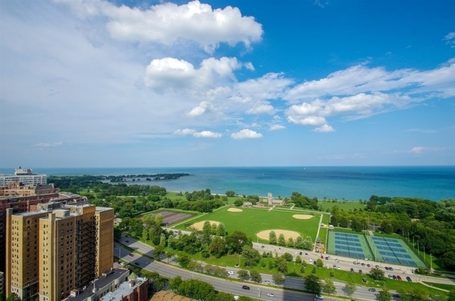 Real Estate Photography - 3660 N Lake Shore Dr, Chicago, IL, 60613 - North View From Sundeck