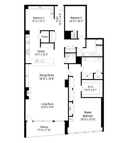 Real Estate Photography - 333 N. Canal, #1804, Chicago, IL, 60606 - Floor Plan