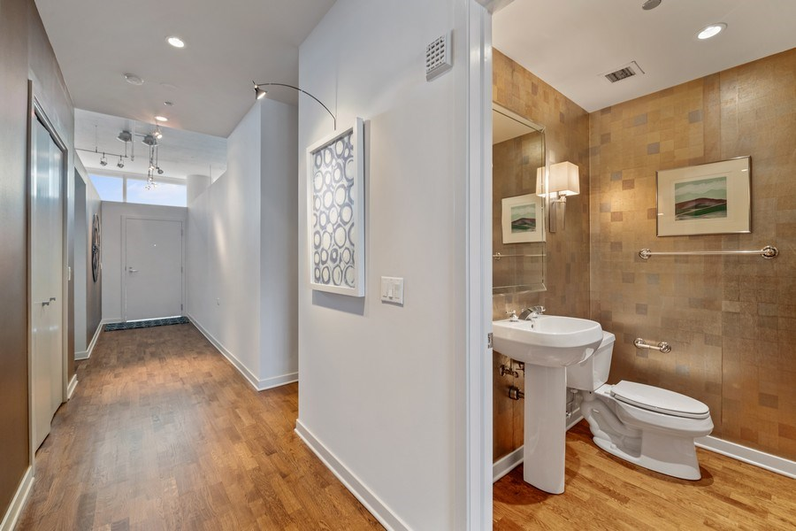 Real Estate Photography - 333 N. Canal, #1804, Chicago, IL, 60606 - Powder Room / Hallway