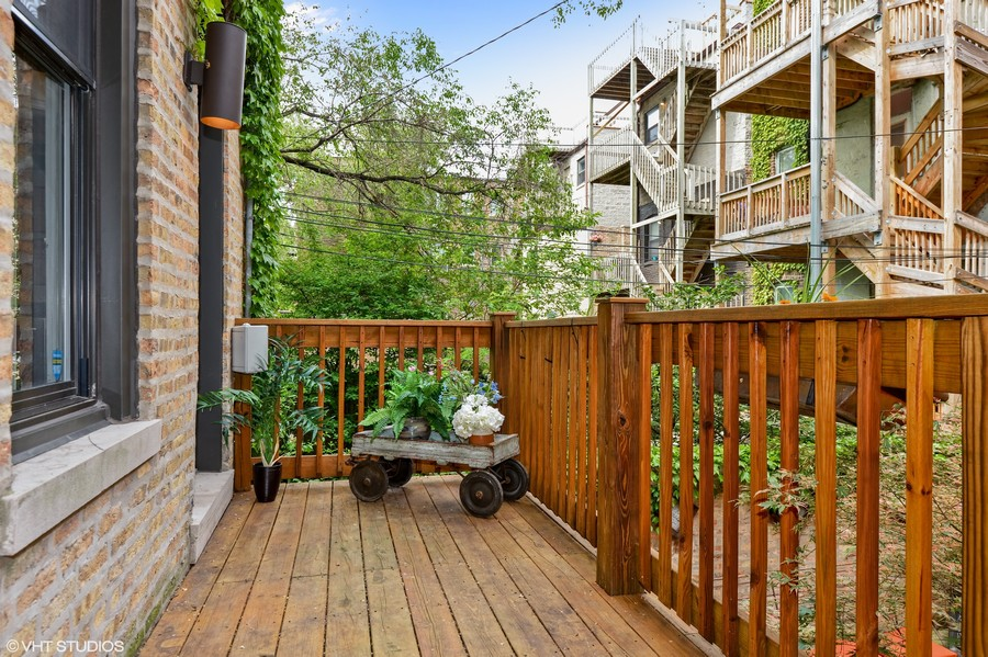 Real Estate Photography - 2826 N. Orchard Street, Chicago, IL, 60657 - Deck Off Kitchen & Dining Room Overlooking Patio