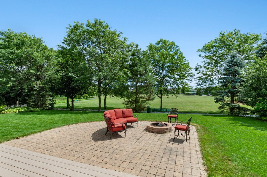 Real Estate Photography - 1448 Somerset, Mundelein, IL, 60060 - Rear View of Fire Pit and Park