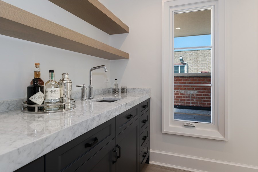 Real Estate Photography - 1942 N Mohawk, Chicago, IL, 60614 - Roof Deck Wet Bar