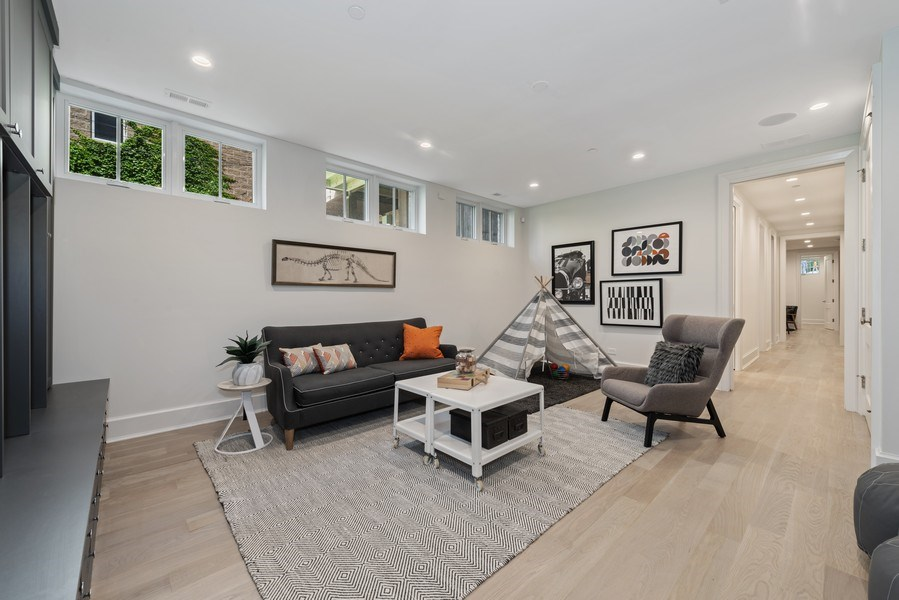 Real Estate Photography - 1942 N Mohawk, Chicago, IL, 60614 - Lower Level Family Room