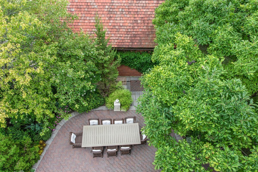 Real Estate Photography - 1225 Sheridan Rd, Evanston, IL, 60202 - Patio and 2 Car Detached Garage Overhead View