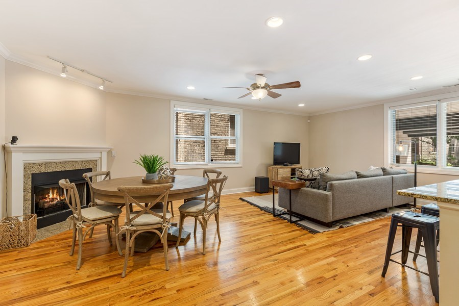 Real Estate Photography - 830 W Bradley Pl, Unit 1S, Chicago, IL, 60613 - Living Room / Dining Room