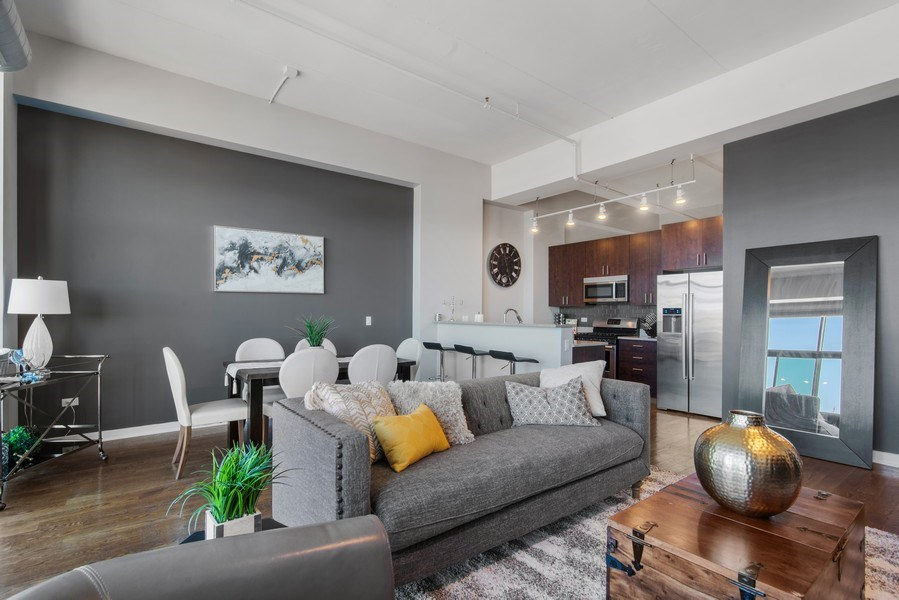 Real Estate Photography - 1224 W Van Buren, Apt 623, Chicago, IL, 60607 - Kitchen / Living Room