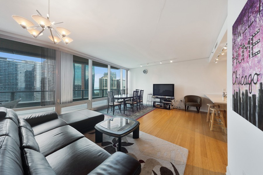 Real Estate Photography - 340 E Randolph St, Unit 2902, Chicago, IL, 60601 - Living Room/Dining Room