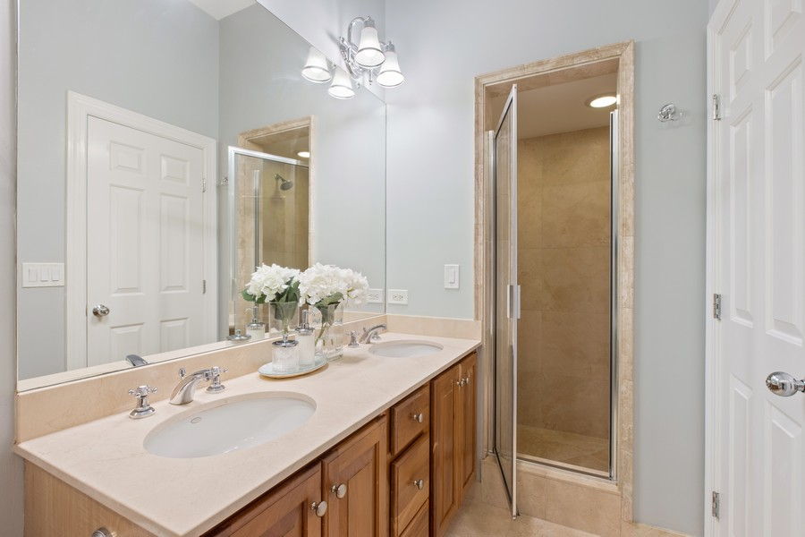 Real Estate Photography - 1226 West Melrose #3, Chicago, IL, 60657 - Master Bathroom has Separate Glass Door Shower