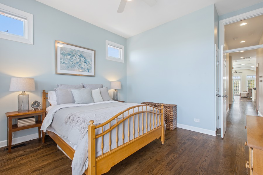 Real Estate Photography - 1226 West Melrose #3, Chicago, IL, 60657 - Master Bedroom with Walnut Stain Hardwood Floors