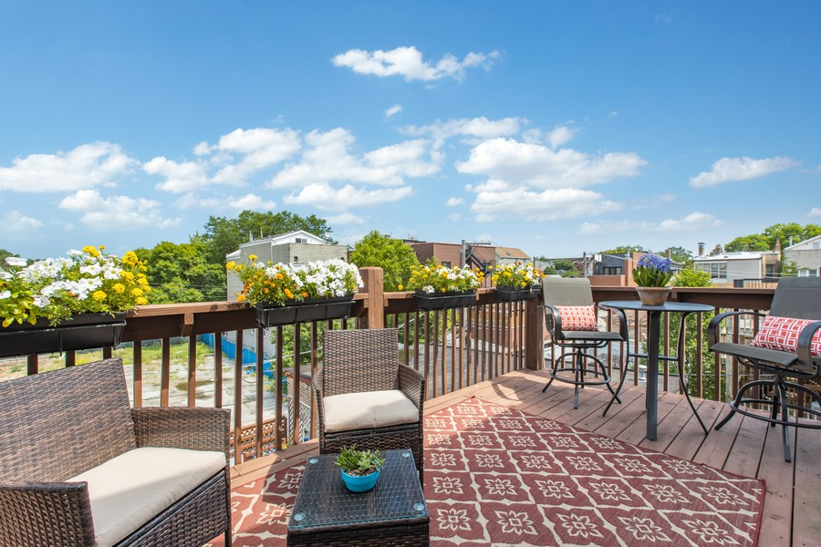 Real Estate Photography - 1226 West Melrose #3, Chicago, IL, 60657 - Private Back Deck for Relaxing & Entertaining
