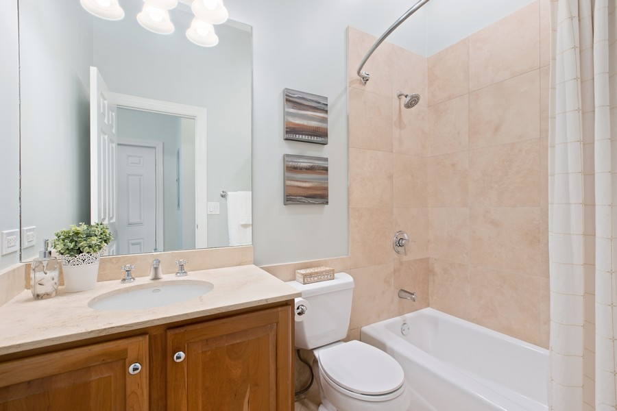 Real Estate Photography - 1226 West Melrose #3, Chicago, IL, 60657 - Second Full Marble Bathroom