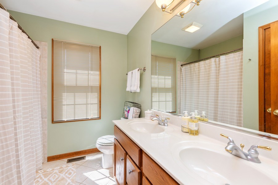 Real Estate Photography - 4N530 School, St. Charles, IL, 60175 - Upstairs Bathroom-Double Sink Vanity