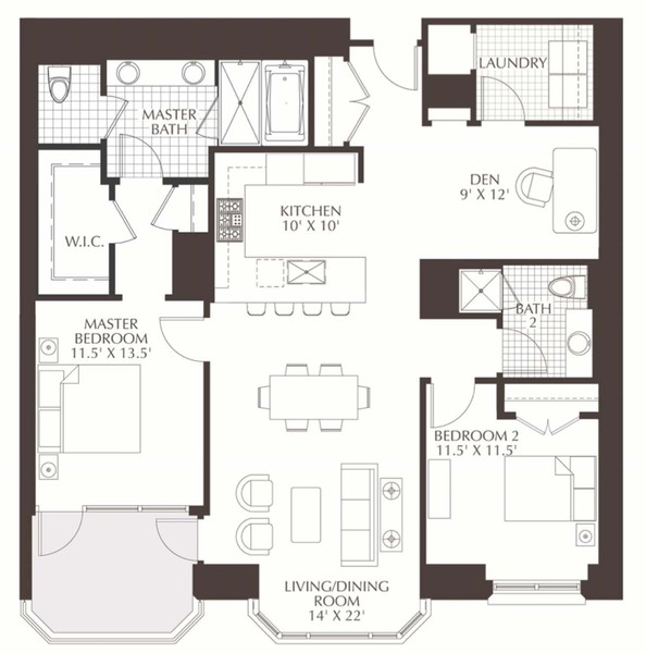 Real Estate Photography - 2550 N. Lakeview Ave., S1805, Chicago, IL, 60614 - Floorplan