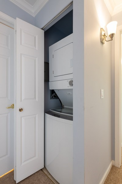 Real Estate Photography - 1220 Depot, Unit 415, Glenview, IL, 60625 - Laundry Room