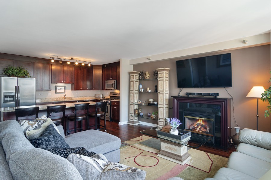 Real Estate Photography - 33 W Ontario St, Apt 30H, Chicago, IL, 60654 - Kitchen / Living Room