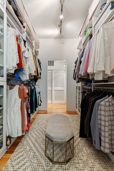 Real Estate Photography - 400 N Racine, 219, Chicago, IL, 60642 - Master Bedroom Closet