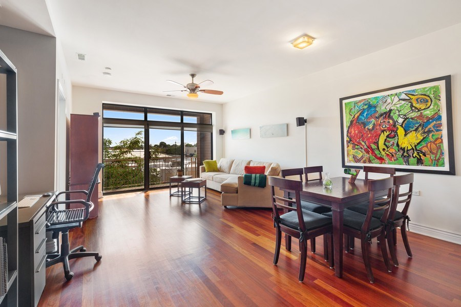Real Estate Photography - 3300 W Irving Park Rd, Unit B3, Chicago, IL, 60618 - Living Room / Dining Room