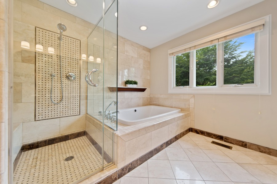 Real Estate Photography - 285 N Main St, Glen Ellyn, IL, 60137 - Master Bathroom.  Extra Large Stand up shower with