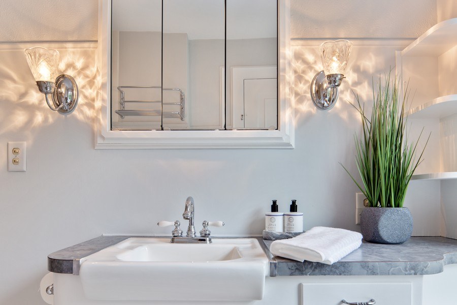 Real Estate Photography - 285 N Main St, Glen Ellyn, IL, 60137 - Full Bathroom.  Everything is white. Gorgeous, old