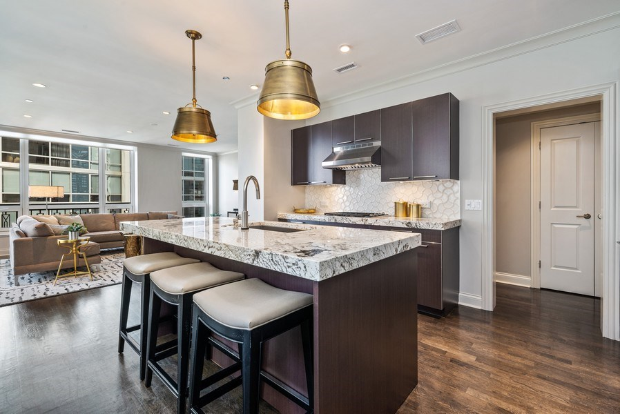 Real Estate Photography - 10 E Delaware Pl, 14D, Chicago, IL, 60611 - Kitchen / Living Room