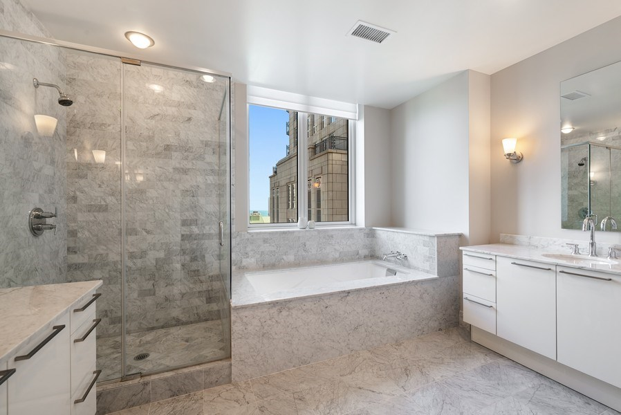 Real Estate Photography - 10 E Delaware Pl, 27B, Chicago, IL, 60611 - Master Bathroom
