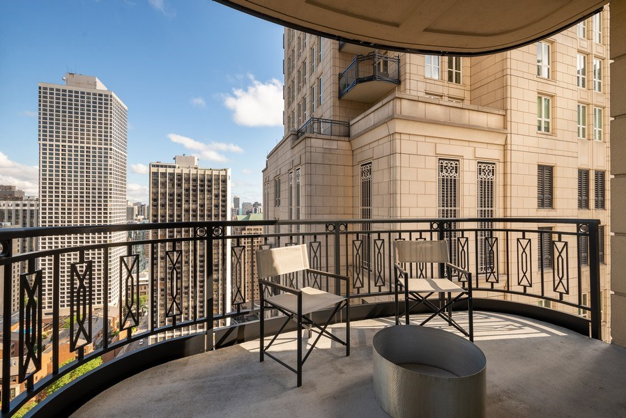 Real Estate Photography - 10 E Delaware Pl, 27B, Chicago, IL, 60611 - Master Bedroom Balcony