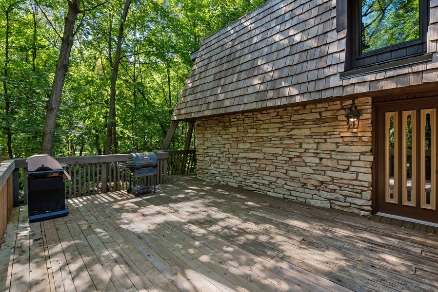 Real Estate Photography - 32433 N. Forest Dr., Grayslake, IL, 60030 - Views of  Grounds with Natural Creek & Firepit