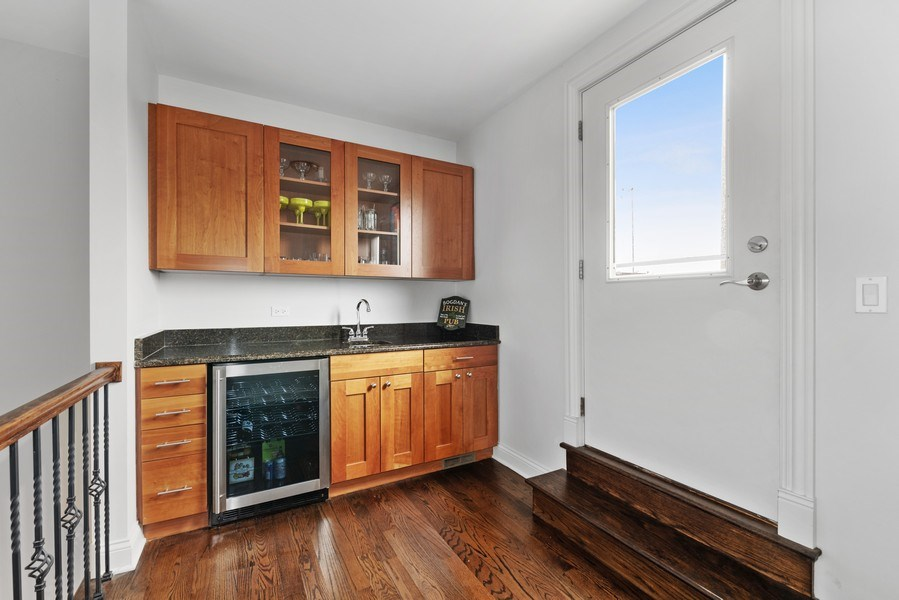 Real Estate Photography - 2060 N. Stave, #1, Chicago, IL, 60647 - Top Floor Wet Bar