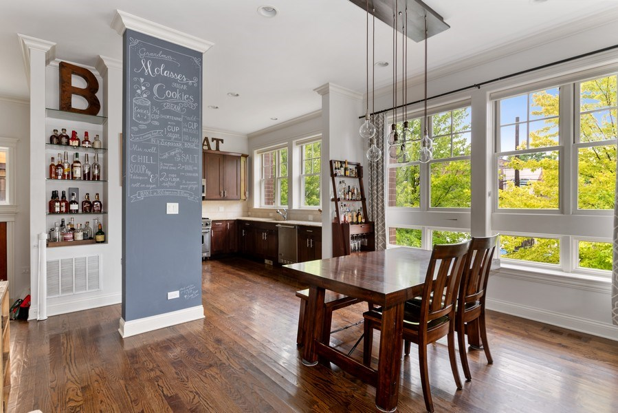 Real Estate Photography - 2060 N. Stave, #1, Chicago, IL, 60647 - Kitchen/Dining