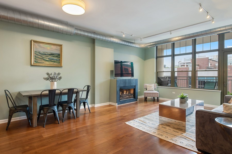 Real Estate Photography - 1200 W. Monroe St, 602, Chicago, IL, 60607 - Living Room / Dining Room