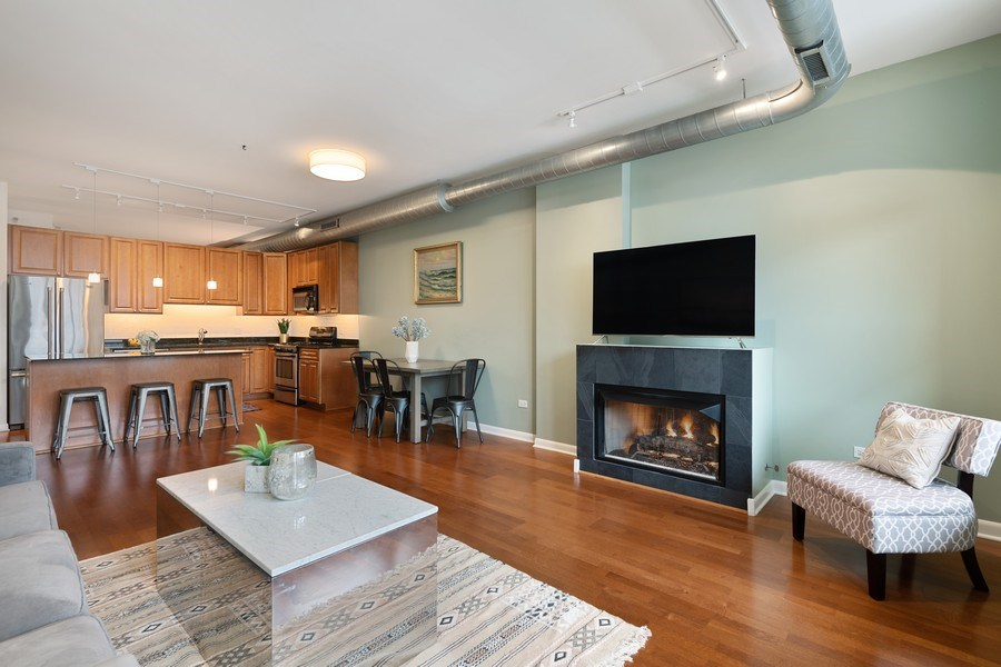 Real Estate Photography - 1200 W. Monroe St, 602, Chicago, IL, 60607 - Living Room/Dining Room