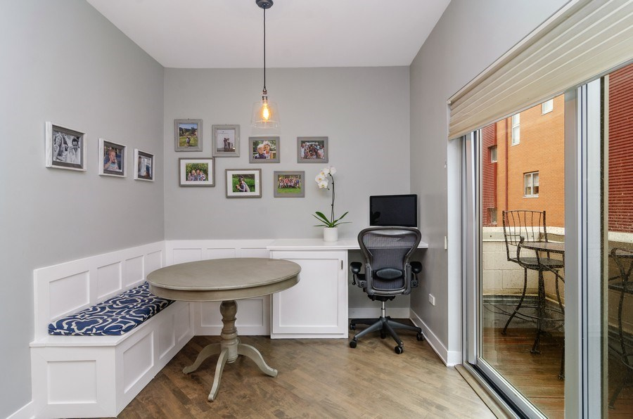 Real Estate Photography - 2141 W. Churchill Street, Chicago, IL, 60647 - Kitchen with Banquette (additional storage)