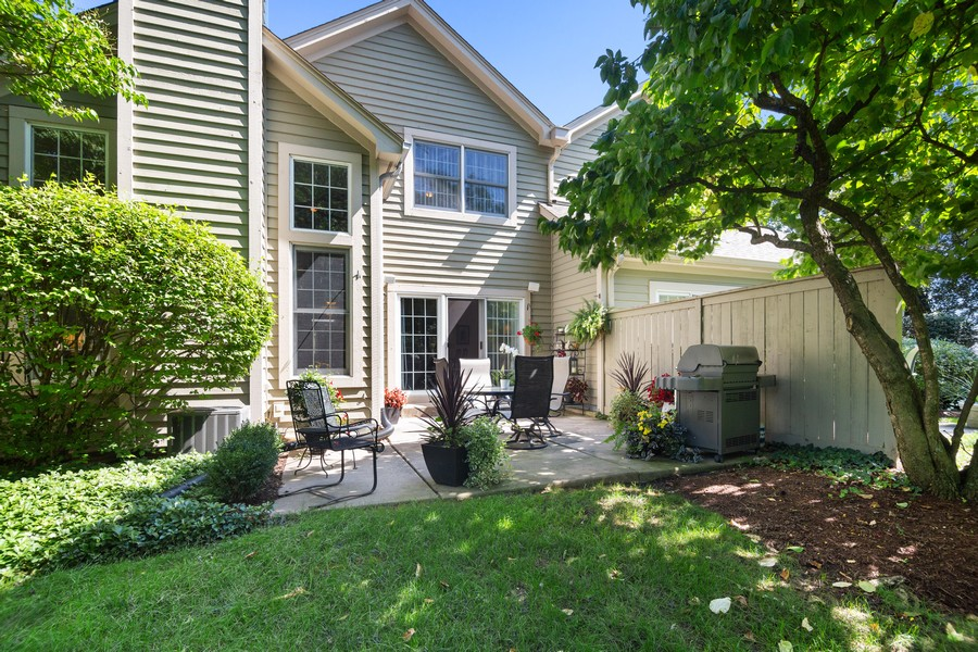 Real Estate Photography - 2042 Trent Ct, Glenview, IL, 60026 - Rear View of Townhouse with Patio