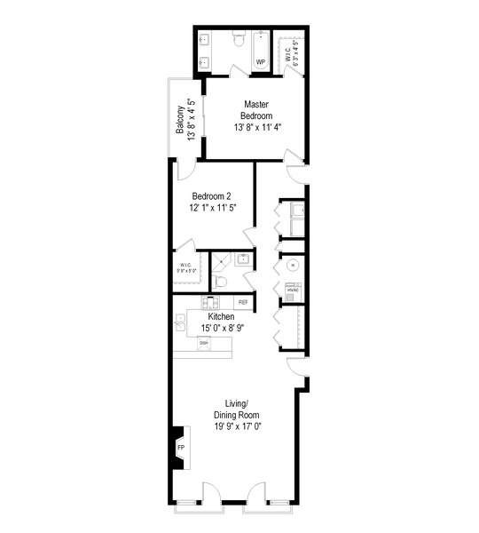 Real Estate Photography - 4704 N Kenmore, Unit 2B, Chicago, IL, 60640 - Floor Plan