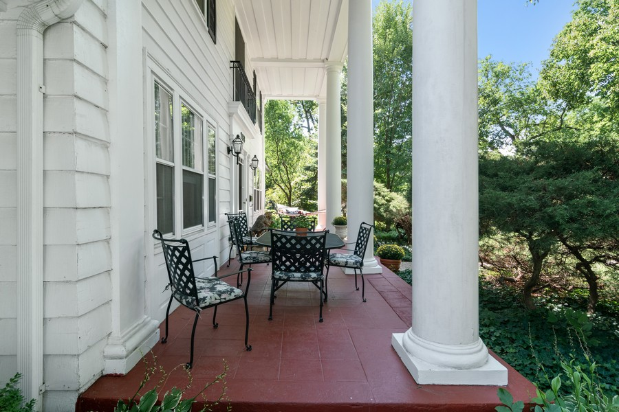 Real Estate Photography - 299 Longcommon Rd, Riverside, IL, 60546 - Front Porch with Columns