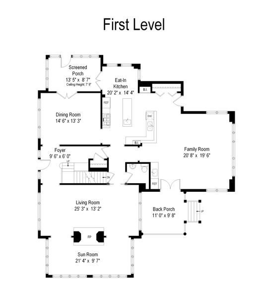 Real Estate Photography - 299 Longcommon Rd, Riverside, IL, 60546 - Floor Plan