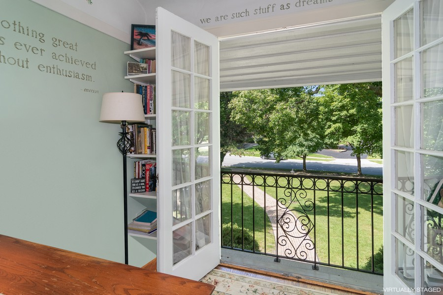Real Estate Photography - 299 Longcommon Rd, Riverside, IL, 60546 - Office with French Doors