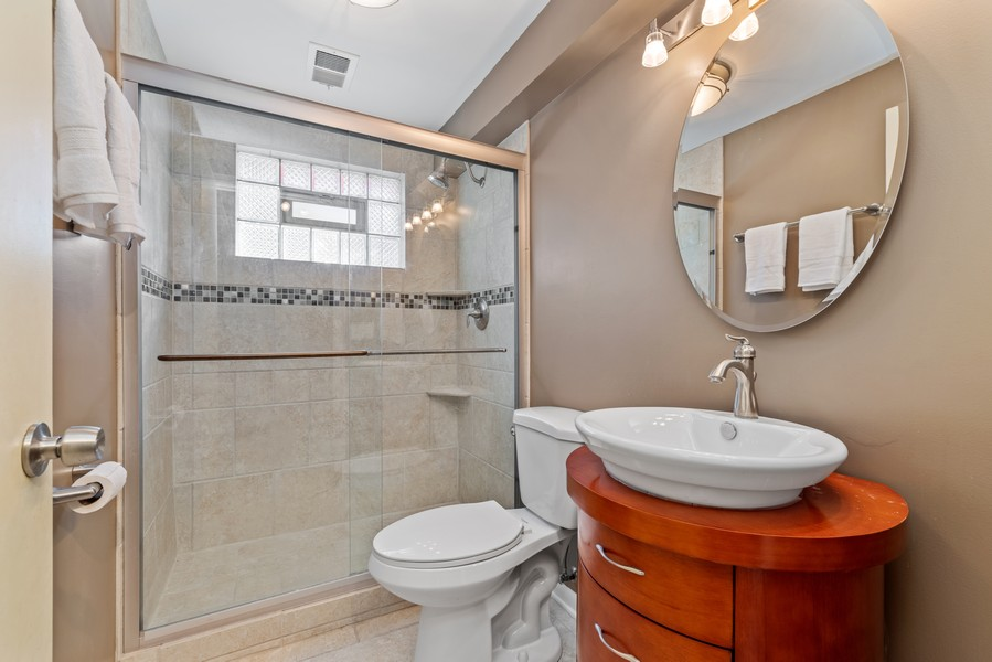 Real Estate Photography - 205 Greenfield, Glenview, IL, 60025 - Lower Level Bathroom