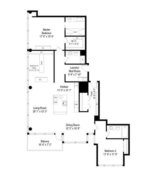 Real Estate Photography - 201 W Grand, #602, Chicago, IL, 60654 - Floor Plan